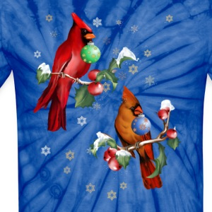 Two Christmas Birds - Unisex Tie Dye T-Shirt