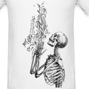 Praying Skeleton B&W ( HD Pixel Design ) - Men's T-Shirt