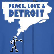 Design ~ Peace, Love and Detroit Men's Hooded Sweatshirt