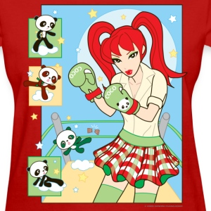 Red Banza Chicks Cartoon School Girl Ladies T-shirt - Women's T-Shirt