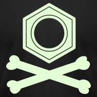 Design ~ YellowIbis.com 'Chemical One Liners' Men's / Unisex American Apparel T: Benzene Pirate (Black, Glow)
