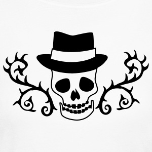 CREEPY SKULLY with TOP HAT Long Sleeve Shirts - Women's Long Sleeve Jersey T-Shirt