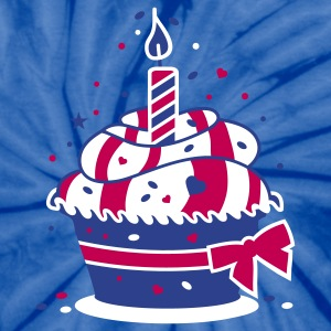 small birthday cake with a candle T-Shirts - Unisex Tie Dye T-Shirt