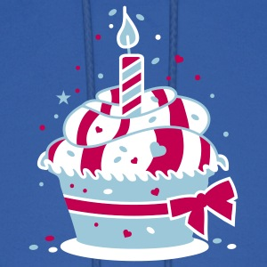 small birthday cake with a candle Hoodies - Men's Hoodie