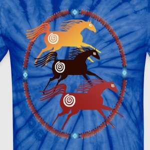 Three Ancient Horses Oval - Unisex Tie Dye T-Shirt