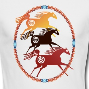 Three Ancient Horses Oval - Men's Long Sleeve T-Shirt by Next Level