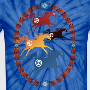 Four Ancient Horses Oval - Unisex Tie Dye T-Shirt