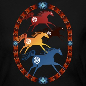 Four Ancient Horses Oval - Women's Long Sleeve Jersey T-Shirt
