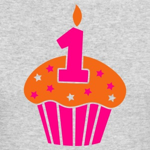 one 1 on a birthday cake cupcake Long Sleeve Shirts - Men's Long Sleeve T-Shirt by Next Level