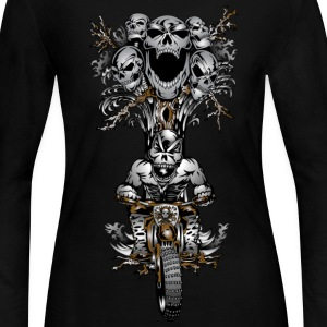 Skull Tree Dirt Biker - Women's Long Sleeve Jersey T-Shirt