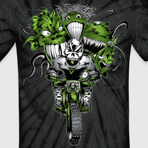 Dirt Biking Green Ghoulies - Unisex Tie Dye T-Shirt