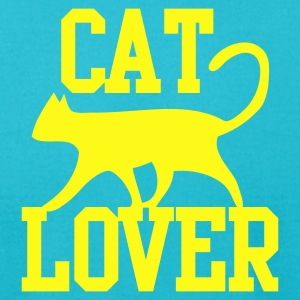 CAT LOVER with funky type and cute cat pussy T-Shirts - Men's T-Shirt by American Apparel