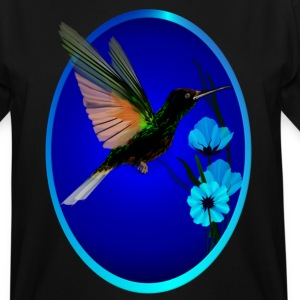 Green Hummingbird-Blue Flowers Oval - Men's Tall T-Shirt