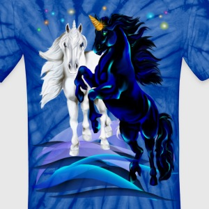 Two Unicorn Stallions - waves - Unisex Tie Dye T-Shirt