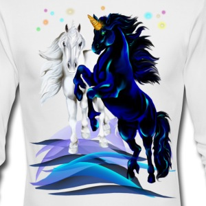 Two Unicorn Stallions - waves - Men's Long Sleeve T-Shirt by Next Level