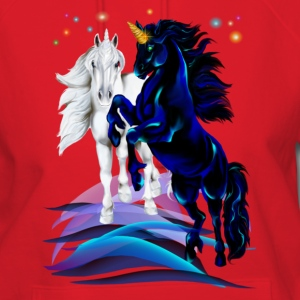 Two Unicorn Stallions - waves - Women's Hoodie