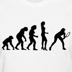 evolution_female_tennis_a_1c Women's T-Shirts
