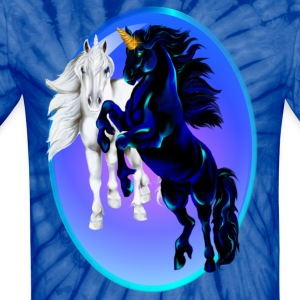 Two Unicorn Stallions - Oval - Unisex Tie Dye T-Shirt