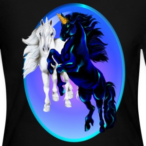 Two Unicorn Stallions - Oval - Women's Long Sleeve Jersey T-Shirt