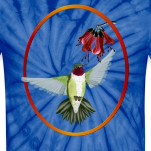 Red Throated Hummingbird - Oval - Unisex Tie Dye T-Shirt
