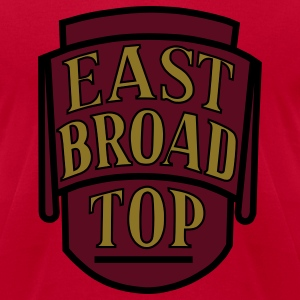East Broad Top Railroad - Metallic Gold Print/Maroon/Black on Brown T-Shirt (Men's) - Men's T-Shirt by American Apparel