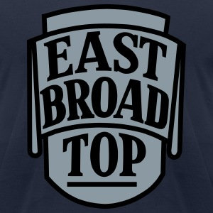 East Broad Top Railroad - Metallic Silver Print with Black on Navy Blue T-Shirt (Men's) - Men's T-Shirt by American Apparel