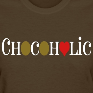 Chocoholic, Womens Chocolate Lover Heart T-Shirt, Brown, Gold, Red - Women's T-Shirt