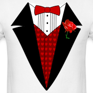 Design ~ Valentine's Day Tuxedo T-Shirt, Red Heart w/ Rose