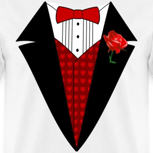 Valentine's Day Tuxedo T-Shirt, Red Heart w/ Rose