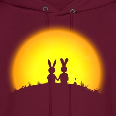 sunset romance bunny bunnies hare rabbit easter hill sun date gras Hoodies