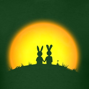 sunset romance bunny bunnies hare rabbit easter hill sun date gras T-Shirts - Men's T-Shirt