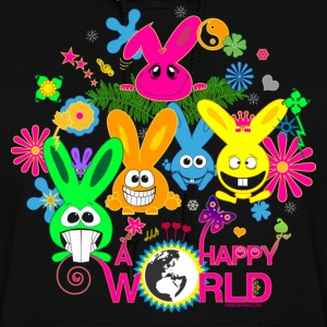 happy world bunny rabbit hare bunnies flower butterfly ying yang palm Hoodies - Women's Hoodie