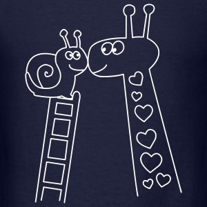 Giraffe and Snail Valentines day t-shirts - Men's T-Shirt