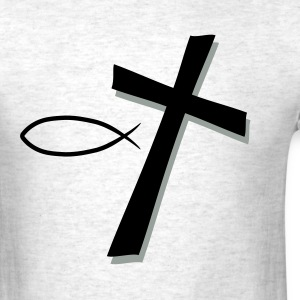 Cross and Fish - Men's T-Shirt