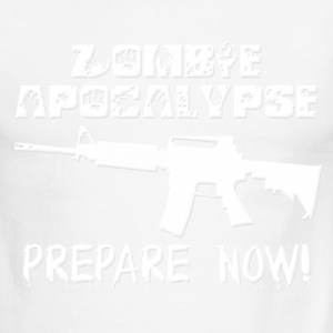 Zombie Apocalypse Prepare Now (White) T-Shirts - Men's Ringer T-Shirt