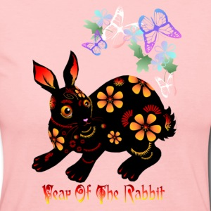 Year Of The Rabbit in Black - Women's Long Sleeve Jersey T-Shirt
