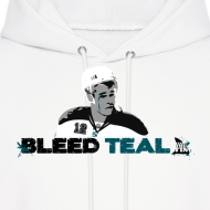 Design ~ Bleed Teal Patty Men's White Hoodie