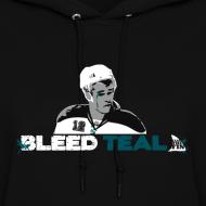 Design ~ Bleed Teal Patty Women's Black Hoodie