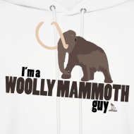 Design ~ Wooly Mammoth Guy Men's White Hoodie