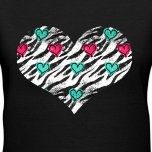 Zebra Heart - Women's V-Neck T-Shirt