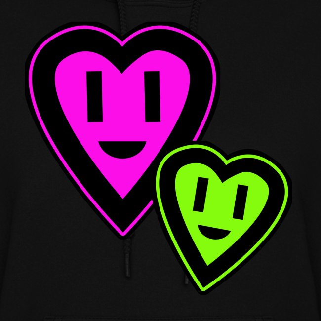 Green & Pink Smiley Hearts