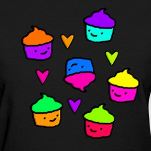 Colorful Cupcakes & Hearts - Women's T-Shirt