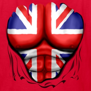 UK Flag Ripped Muscles, six pack, chest t-shirt - Kids' T-Shirt