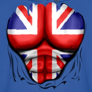 UK Flag Ripped Muscles, six pack, chest t-shirt - Men's Hoodie