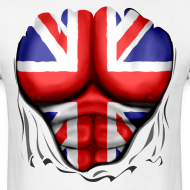 Design ~ UK Flag Ripped Muscles, six pack, chest t-shirt