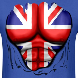 UK Flag Ripped Muscles, six pack, chest t-shirt - Men's T-Shirt
