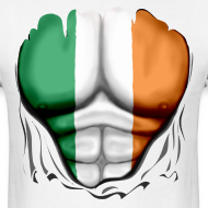 Design ~ Ireland Flag Ripped Muscles, six pack, chest t-shirt