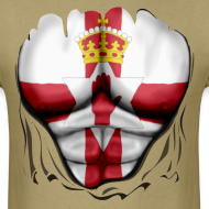 Design ~ Northern Ireland Flag Ripped Muscles, six pack, chest t-shirt