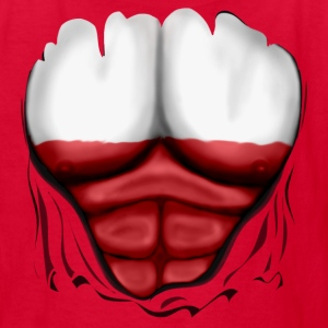 Poland Flag Ripped Muscles, six pack, chest t-shirt - Kids' T-Shirt