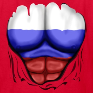 Russia Flag Ripped Muscles, six pack, chest t-shirt - Kids' T-Shirt